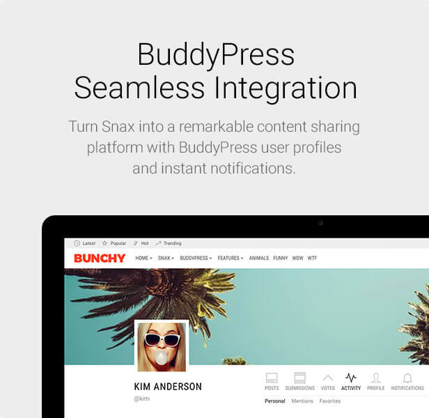 Snax - BuddyPress Integration