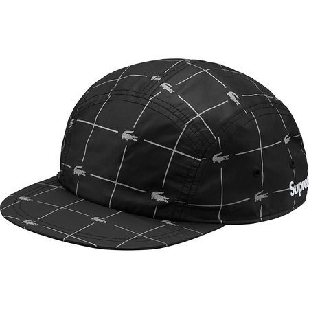 Supreme®/LACOSTE Reflective Grid Nylon Camp Cap (Black)