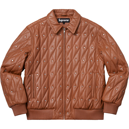 Quilted Studded Leather Jacket (Light Brown)