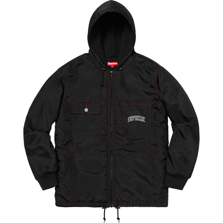 Sherpa Lined Nylon Zip Up Jacket (Black)