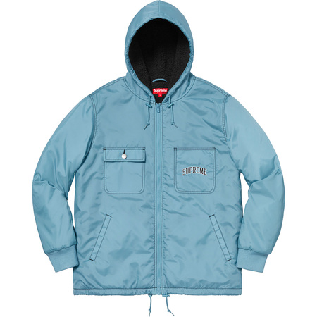 Sherpa Lined Nylon Zip Up Jacket (Dusty Blue)