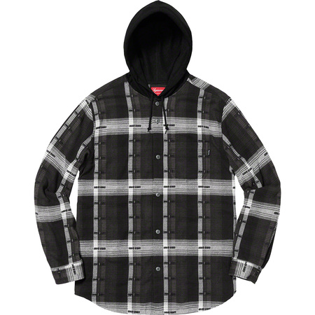 Hooded Jacquard Flannel Shirt (Black)