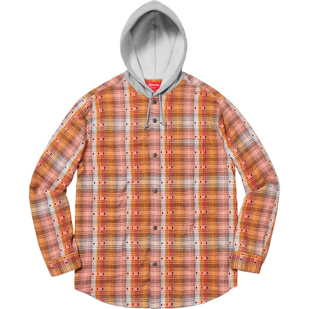 Hooded Jacquard Flannel Shirt (Orange)