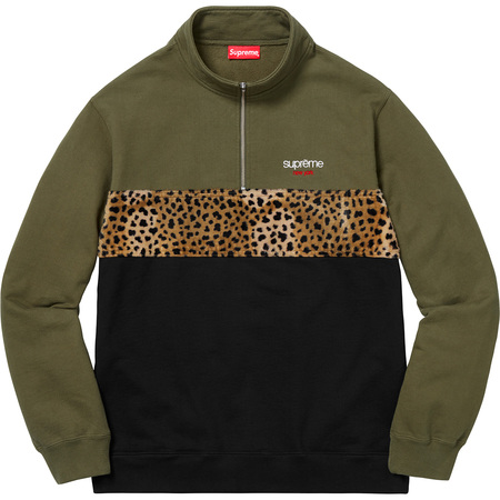 Leopard Panel Half Zip Sweatshirt (Dark Olive)