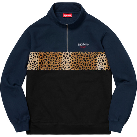 Leopard Panel Half Zip Sweatshirt (Navy)