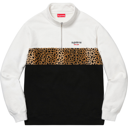 Leopard Panel Half Zip Sweatshirt (White)