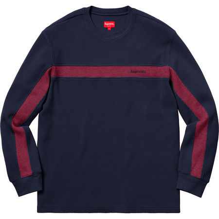 Panel Stripe Waffle Thermal (Navy)