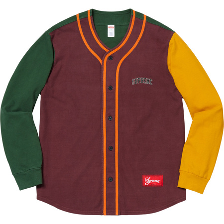 Color Blocked Baseball Top (Burgundy)