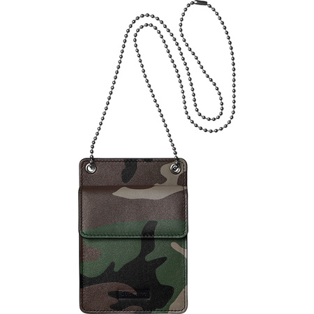Leather ID Holder + Wallet (Woodland Camo)