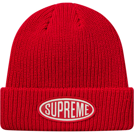 Oval Patch Beanie (Red)