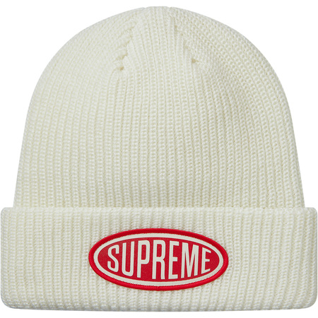 Oval Patch Beanie (White)