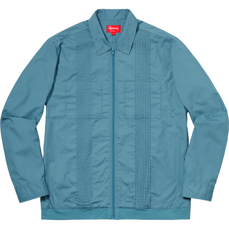 Pin Tuck Zip Up Shirt (Light Blue)