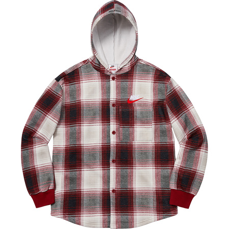 Supreme®/Nike® Plaid Hooded Sweatshirt (Burgundy)