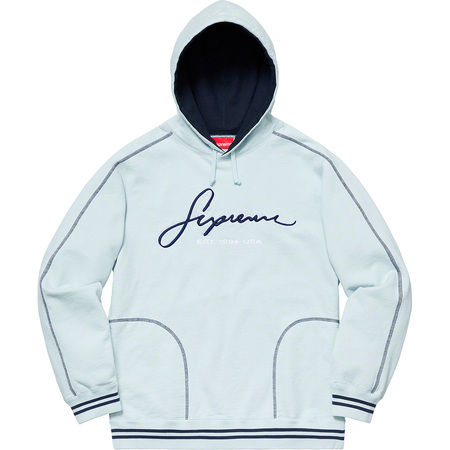 Contrast Embroidered Hooded Sweatshirt (Ice)
