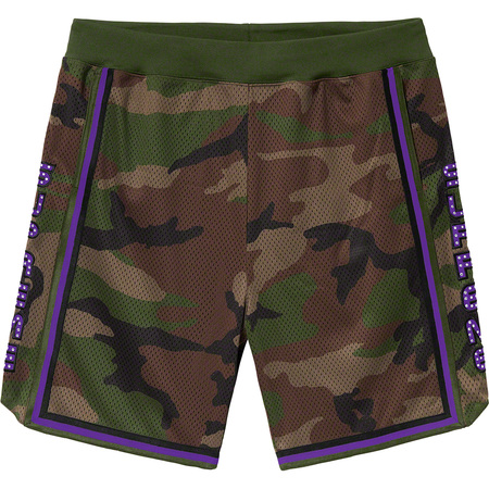 Rhinestone Basketball Short (Woodland Camo)