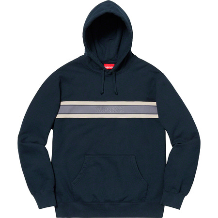 Chest Stripe Logo Hooded Sweatshirt (Navy)