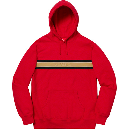 Chest Stripe Logo Hooded Sweatshirt (Red)