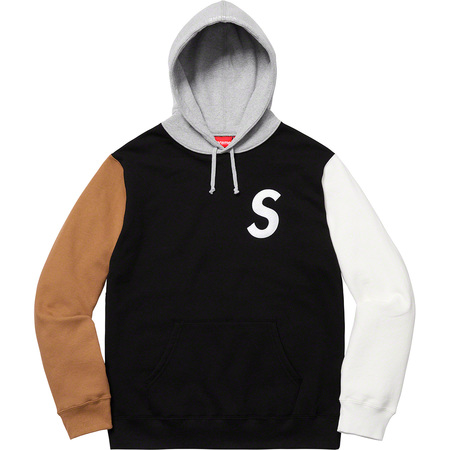 S Logo Colorblocked Hooded Sweatshirt (Black)