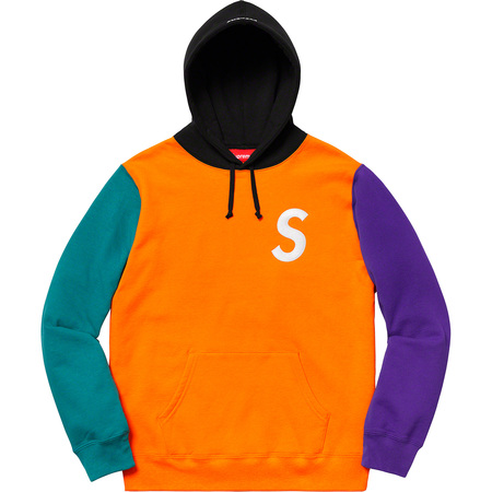 S Logo Colorblocked Hooded Sweatshirt (Orange)