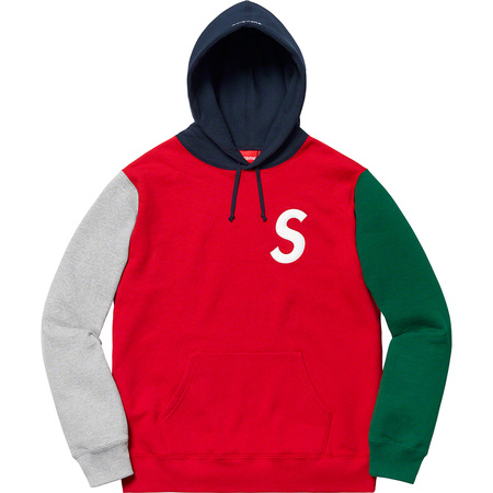 S Logo Colorblocked Hooded Sweatshirt (Red)