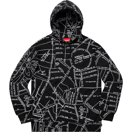 Gonz Embroidered Map Hooded Sweatshirt (Black)