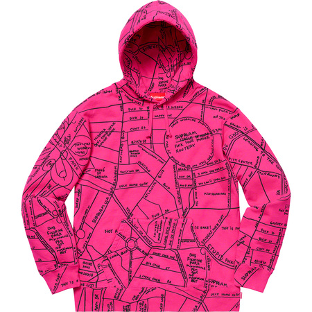 Gonz Embroidered Map Hooded Sweatshirt (Magenta)