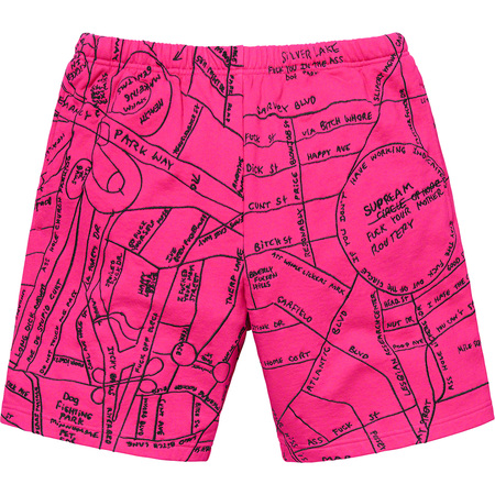 Gonz Embroidered Map Sweatshort (Magenta)