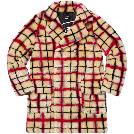 Supreme®/Jean Paul Gaultier® Double Breasted Plaid Faux Fur Coat (Off-White)