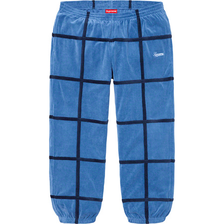 Grid Taping Velour Pant (Blue)