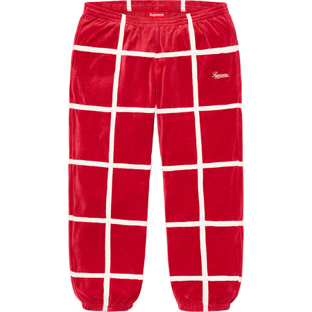Grid Taping Velour Pant (Red)