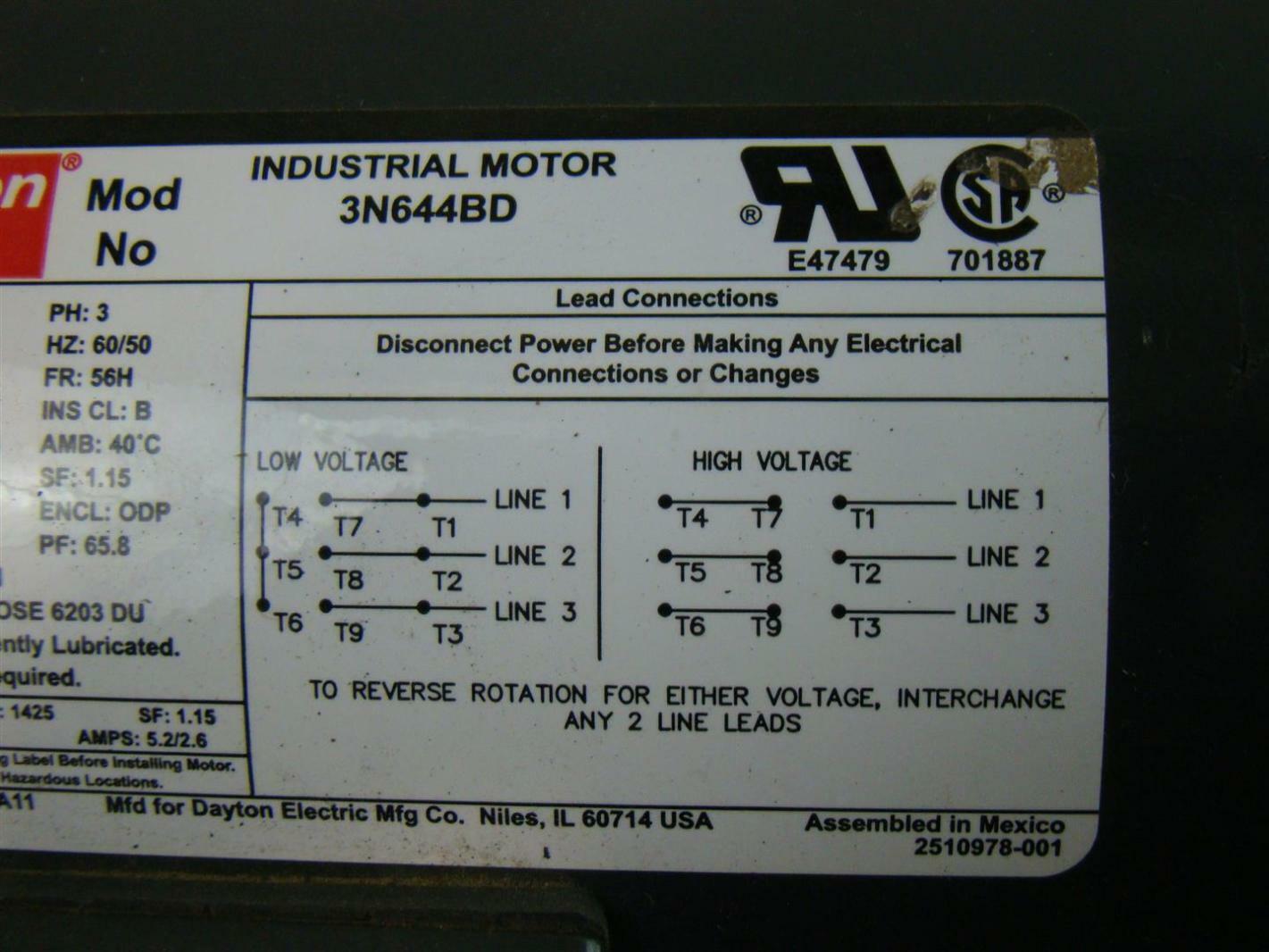 Dayton Industrial Motor 1 1 2 Hp Ph3 208 230 460v 5 4 5 6