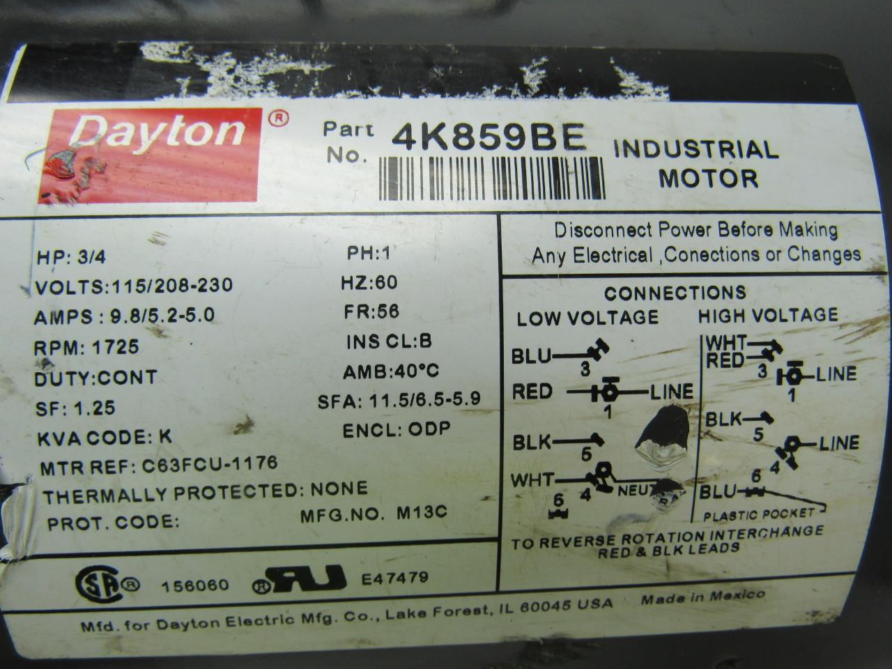 Dayton Industrial Motor Wiring on