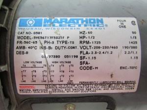 Marathon Electric G581 12 HP Motor 3PH multivolt 1725RPM