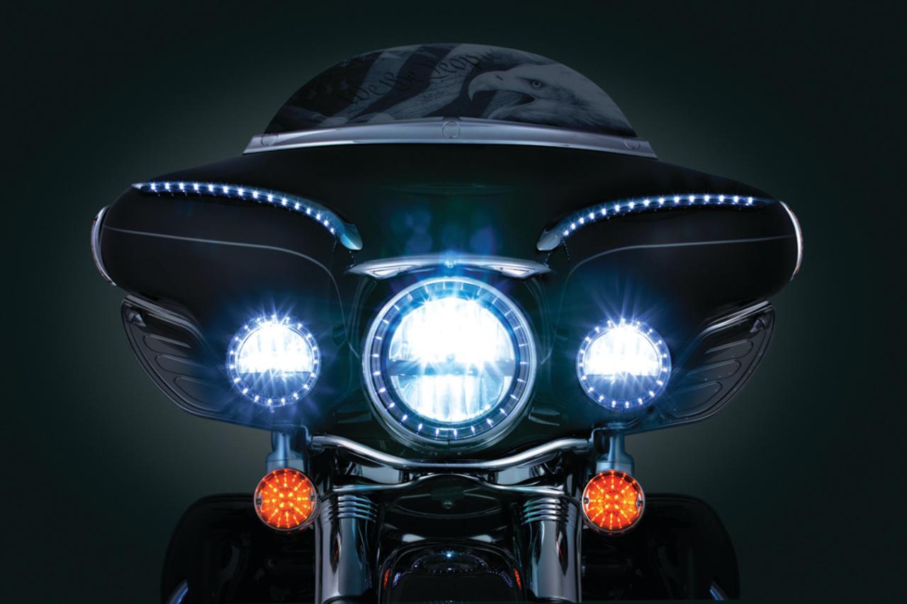 Kuryakyn LED Halo Headlight Light Trim Ring 94-16 Harley
