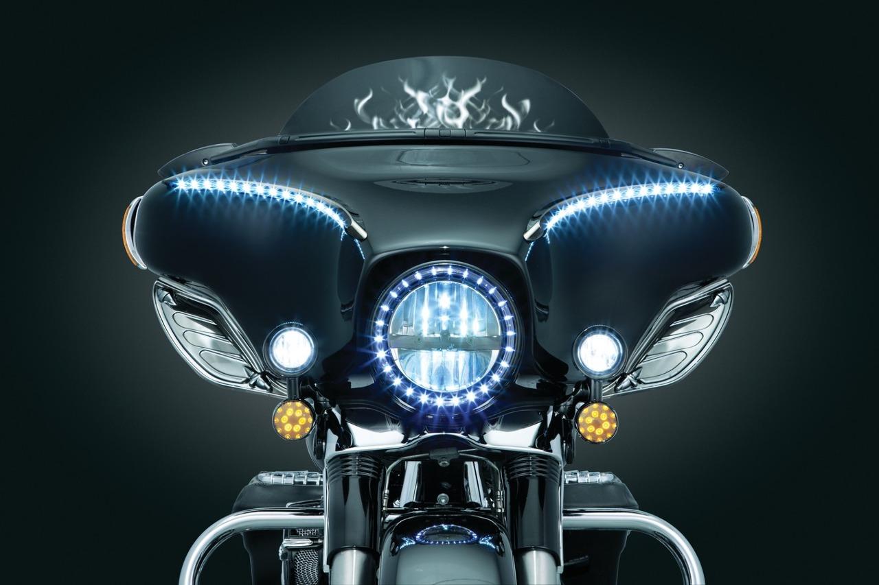Kuryakyn LED Halo Trim Headlight Ring 84-16 Harley Touring