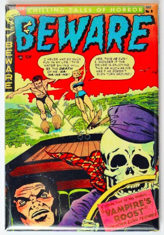 Beware Comic Book FRIDGE MAGNET Horror Pulp Skeleton Water