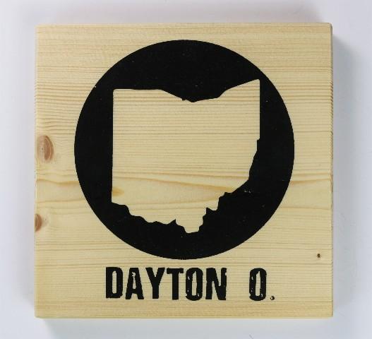 Dayton Ohio Screen Printed Wood Tile Wall Decor W Easy Hanging Bracket OHIO Office Decor