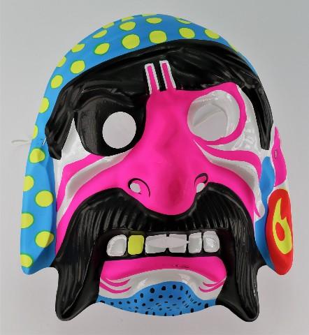 Vintage Neon Pink Pirate Halloween Mask Pirates Ship