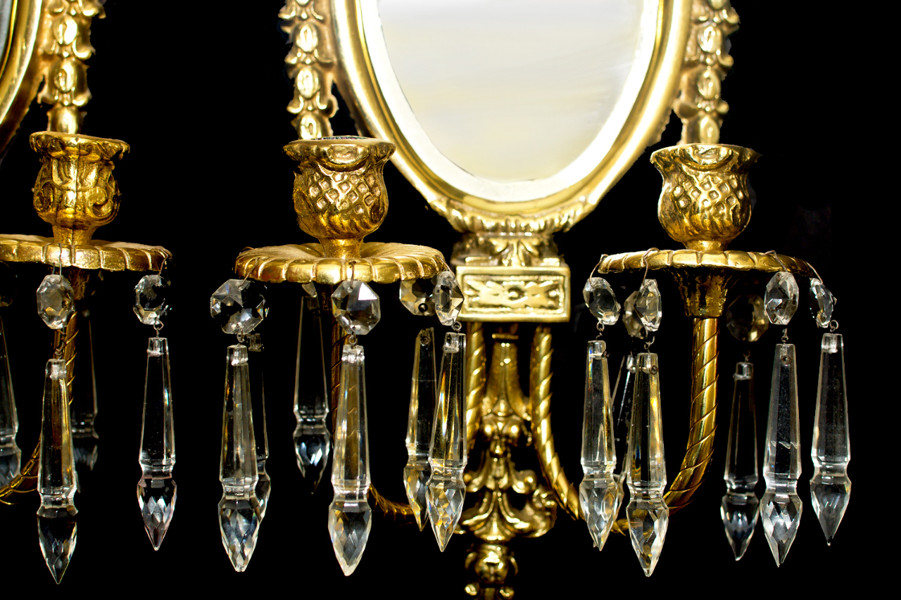 VINTAGE BRASS NEOCLASSICAL CANDLE WALL HANGING MIRROR ... on Wall Sconces Candle Holders id=72256