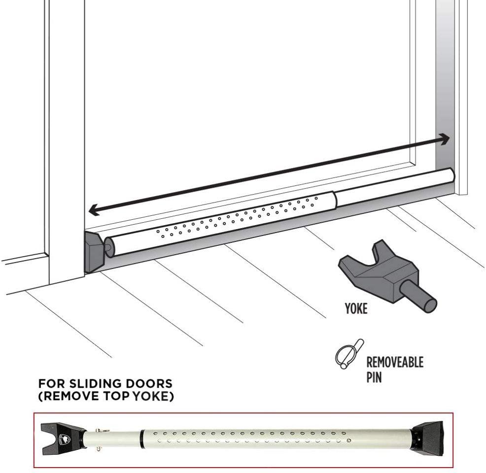 security door jammer 2 in 1 adjustable sliding patio door security bar white