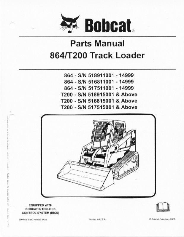 Bobcat T200 Rubber Track Loader Parts Manual Book 864