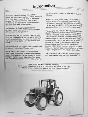 John Deere JD 7600 7700 7800 Tractor Operators Operation Manual OMAR113020 maintenance book