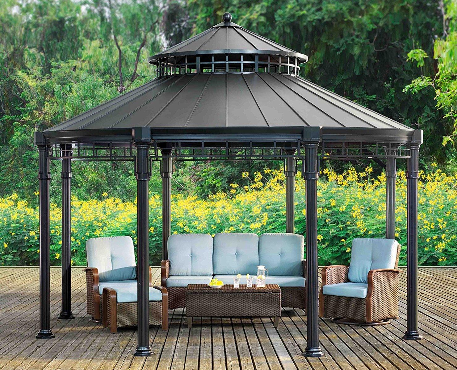 Sunjoy Buffalo 14' x 14' Round Top Heavy Duty Outdoor ... on Outdoor Patio Pavilion id=23300