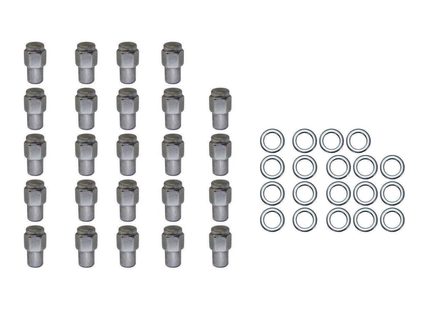 24 Pc Set Chrome Steel Mag Shank Lug Nuts 12mm X 1 25 For