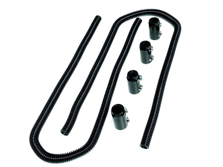 44 Black Stainless Steel Heater Hose Kit W Black