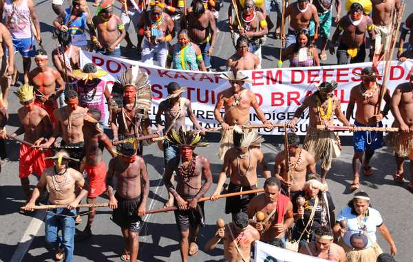 Brazilian indigenous people protest in the country's federal capital, Brasilia