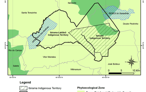 Map of the current (Ibirama) and planned (Ibirama La Klãnõ) indigenous territory. The expansion of the territory is the cause of the legal dispute.