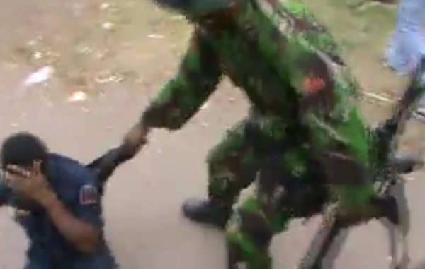 The shocking footage shows Indonesian soldiers beating West Papuans
