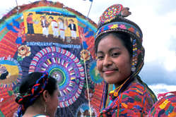 A Mayan woman during a kite festival at Santiago Sacatepequez, Guatemala