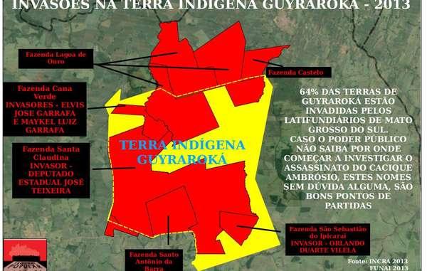 """""""Las plantaciones de caña de azúcar (en rojo) ocupan la mayor parte de la tierra ancestral (en amarillo) de la comunidad de Ambrósio."""""""